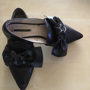 Zara - Black Leather Pointy Toe Leather Flats